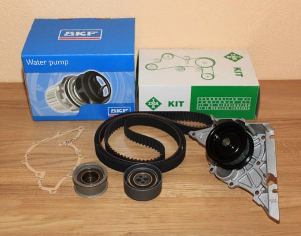 ZAHNRIEMENSATZ INA für AUDI V6 2,6 2,8 80 A4 A6 A8 + Wasserpumpe von SKF EAN: 4005108306647 + 731657