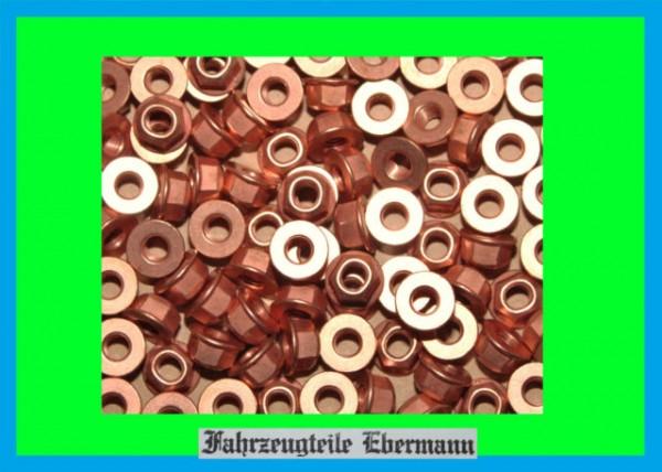 100 Stück Auspuff Muttern mit Bund DIN 6927 M8 SW13mm z.B. Krümmer Astra Vectra