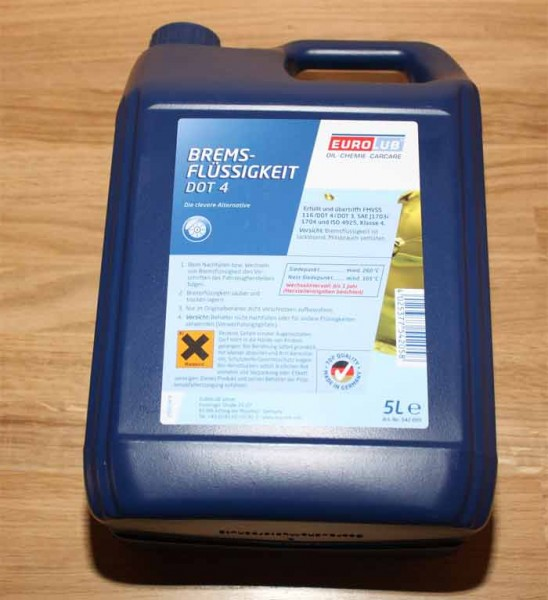 5 Liter Kanister Bremsflüssigkeit Dot 4 EAN: 4025377542058