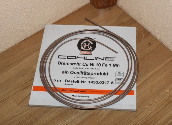 Bremsleitung 4,75mm 5 Meter Cu Ni 10 Fe 1Mn Kupfer Nickel Bremsrohr 1430.0347-5 TÜV CERT VDA Q1/EN ISO 9001 QA 05 107 7051 QS 8000/EN ISO 9001 QA 05 101 7050