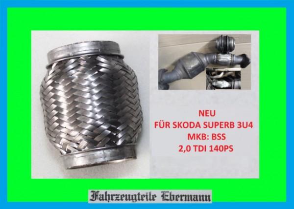 Flexrohr für Katalysator SKODA SUPERB 2,0 TDI 140PS BSS Motor 3B0254250AX KAT